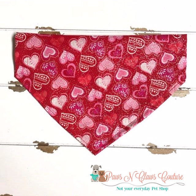 Glitter Pattern Hearts on Red Bandana