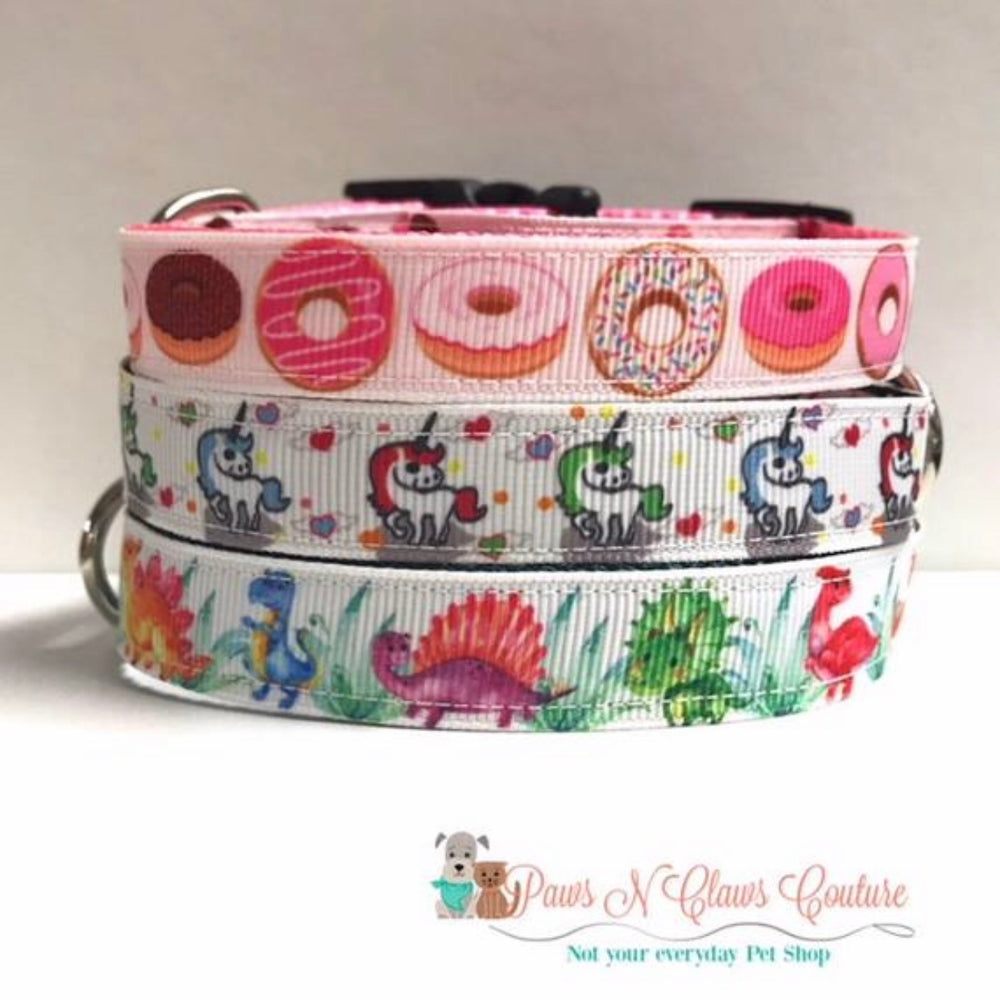 "5/8"" Unicorn, Dinosaurs, or Donuts Dog Collars - Paws N Claws Couture"