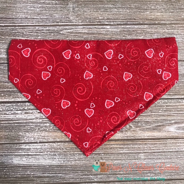Glitter Outline Hearts on Red Bandana - Paws N Claws Couture
