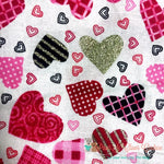 Glitter Pattern Hearts on White Bandana - Paws N Claws Couture