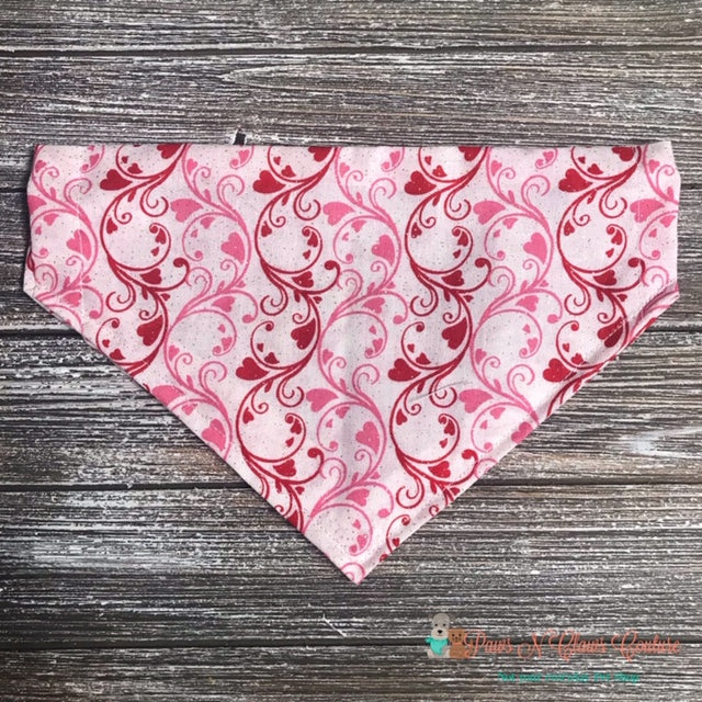 Pink & Red Swirls & Hearts Bandana - Paws N Claws Couture