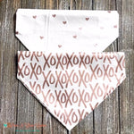 Reversible Metallic XOXO & Hearts on Creme Bandana - Paws N Claws Couture