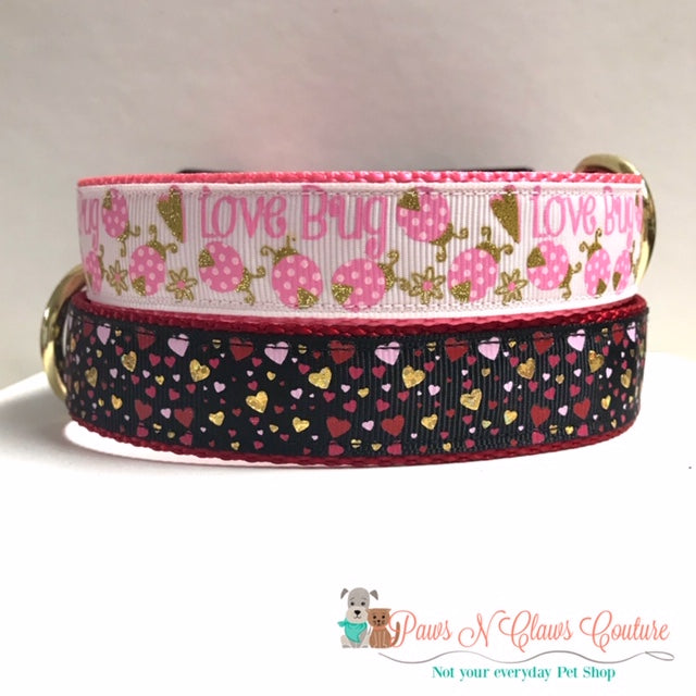 "1"" Love Bug or Golden Hearts Dog Collar - Paws N Claws Couture"