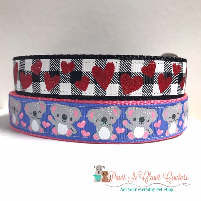"1"" Koala Bears or Plaid and hearts Dog Collar"
