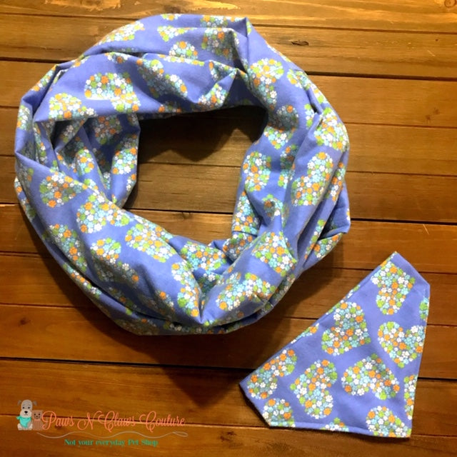 Lavender Paw hearts Scarf or Bandana