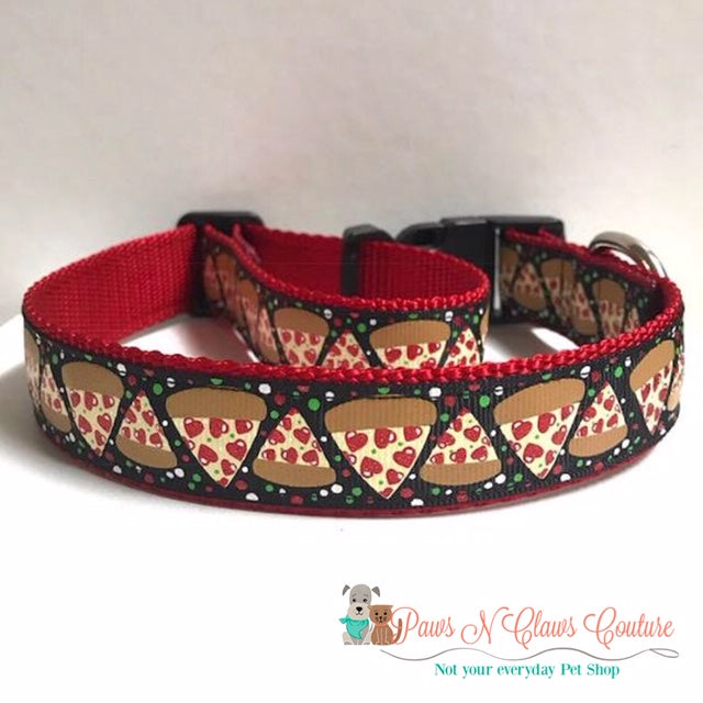"1"" Heart Pepperoni Pizza Dog Collar"