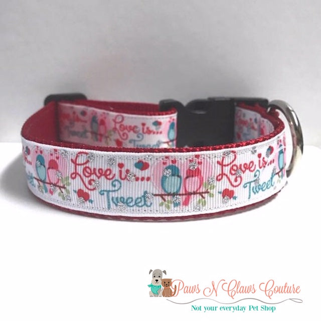 "1"" Love is Tweet Dog Collar - Paws N Claws Couture"