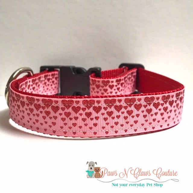 "1"" Descending Hearts Dog Collar - Paws N Claws Couture"