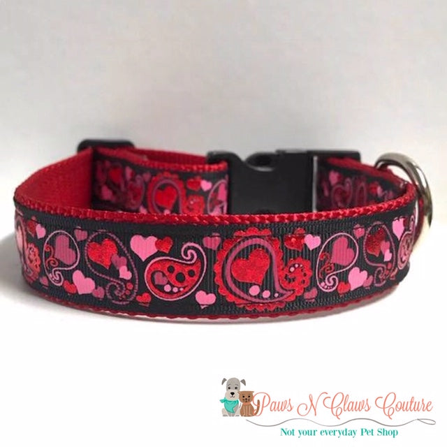 "1"" Paisley Hearts Dog Collar - Paws N Claws Couture"