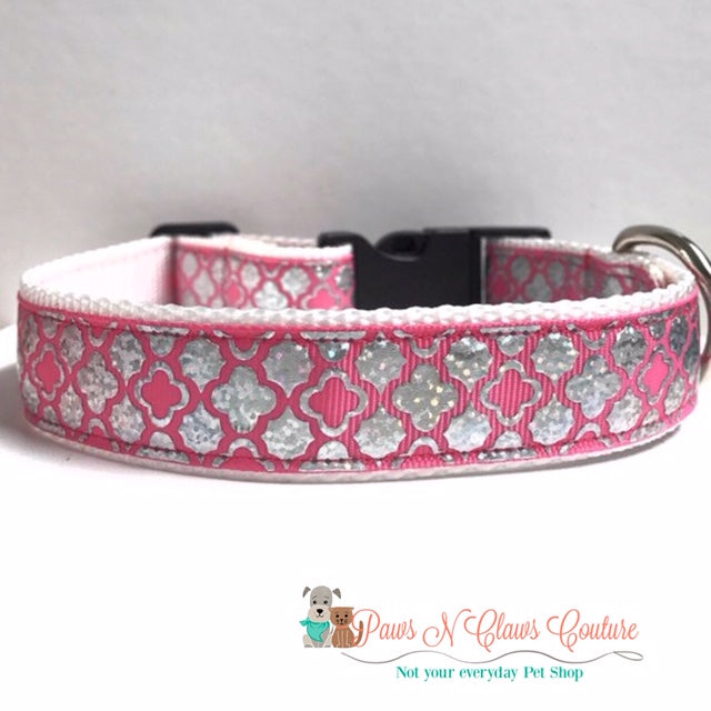 "1"" Pink Quatrefoil Dog Collar - Paws N Claws Couture"