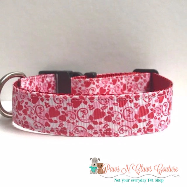 "1"" Hearts & Swirls Dog Collar - Paws N Claws Couture"