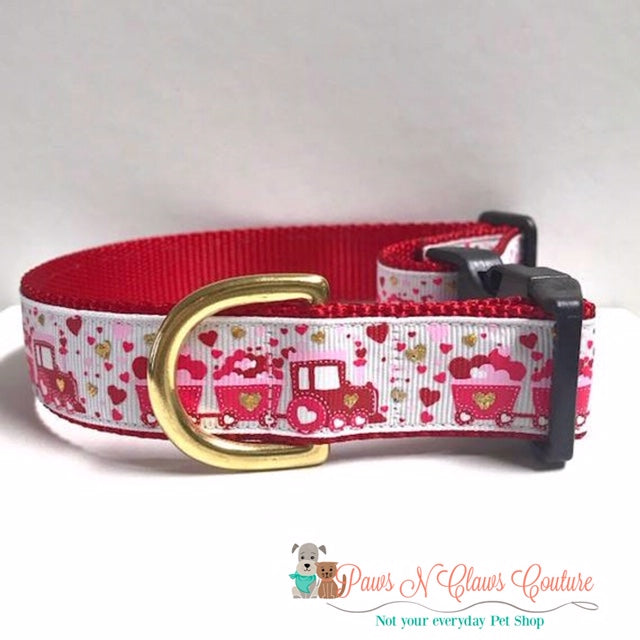 "1"" Hugga Hugga Choo Choo Dog Collar - Paws N Claws Couture"