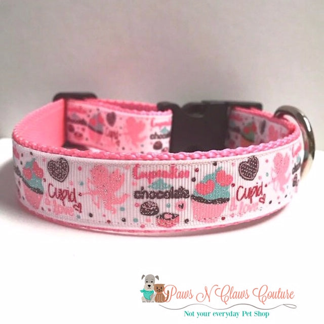"1"" Cupcakes, Chocolate, Cupid and Love Dog Collar - Paws N Claws Couture"