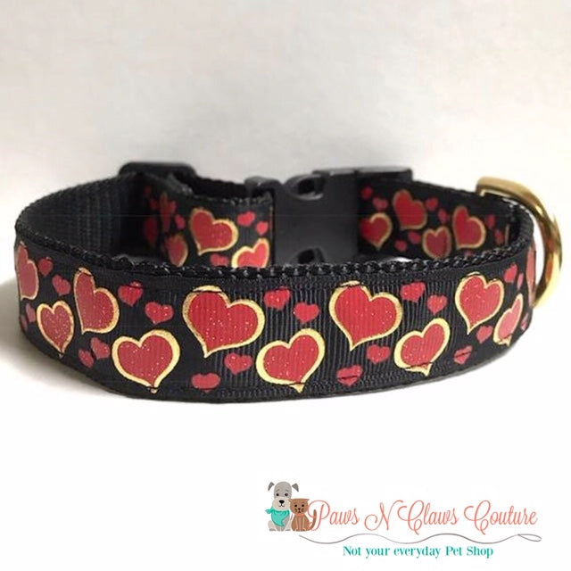 "1"" Gold Foil Red Hearts Dog Collar"