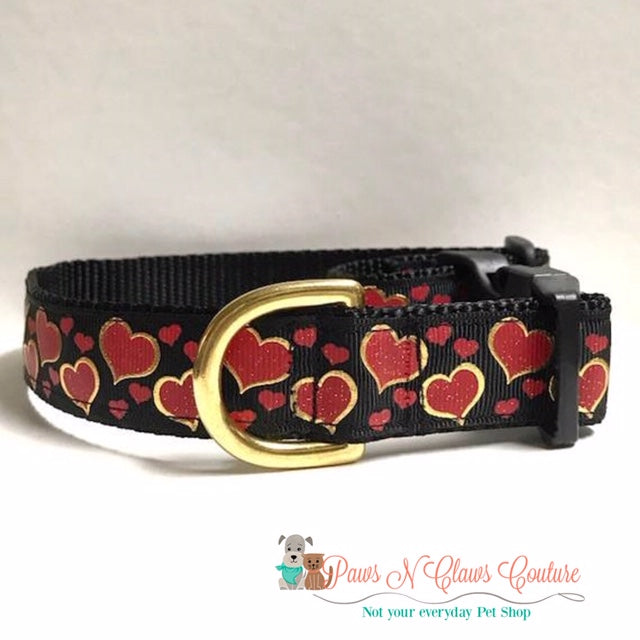 "1"" Gold Foil Red Hearts Dog Collar - Paws N Claws Couture"