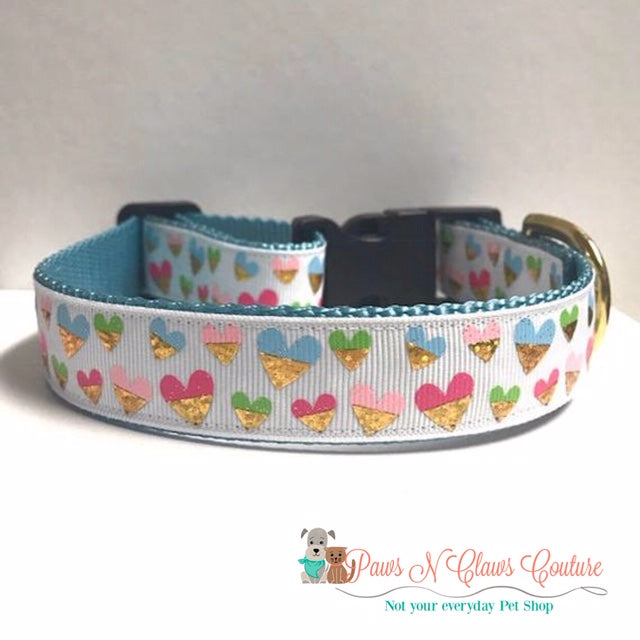 "1"" Gold Dipped Hearts Dog Collar"