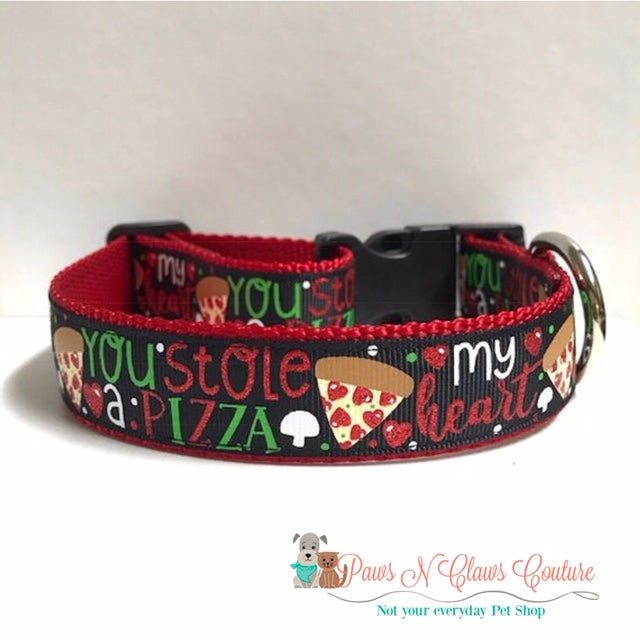 "1"" You stole a Pizza of my Heart Dog Collar - Paws N Claws Couture"