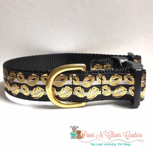"1"" Gold Foil Kisses on Stripes Dog Collar - Paws N Claws Couture"