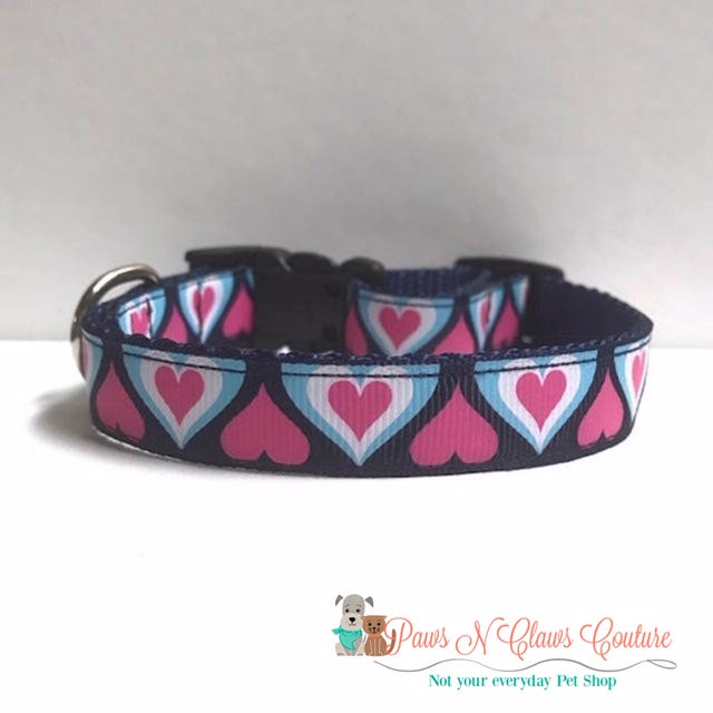 "5/8"" Retro Hearts on Navy Dog Collar - Paws N Claws Couture"