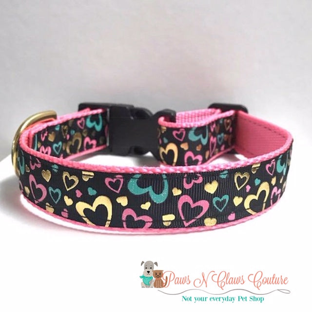 "1"" Black Background Mini Foil Hearts Dog Collar"