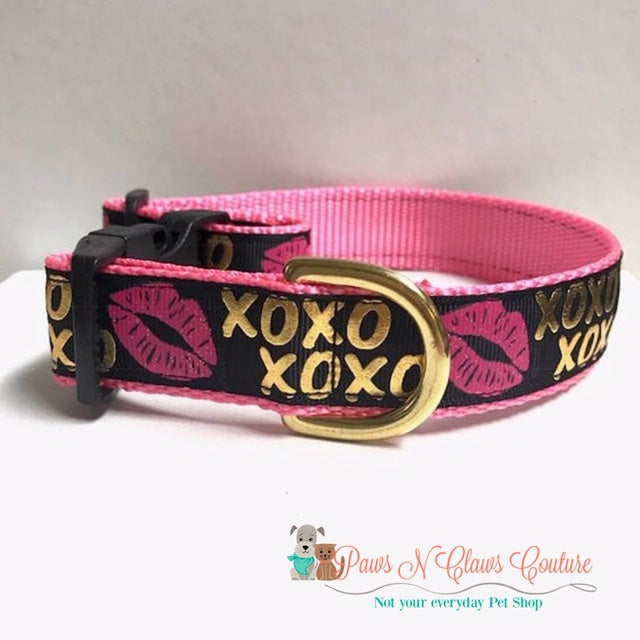 "1"" XOXO, Pink Dog Collar - Paws N Claws Couture"