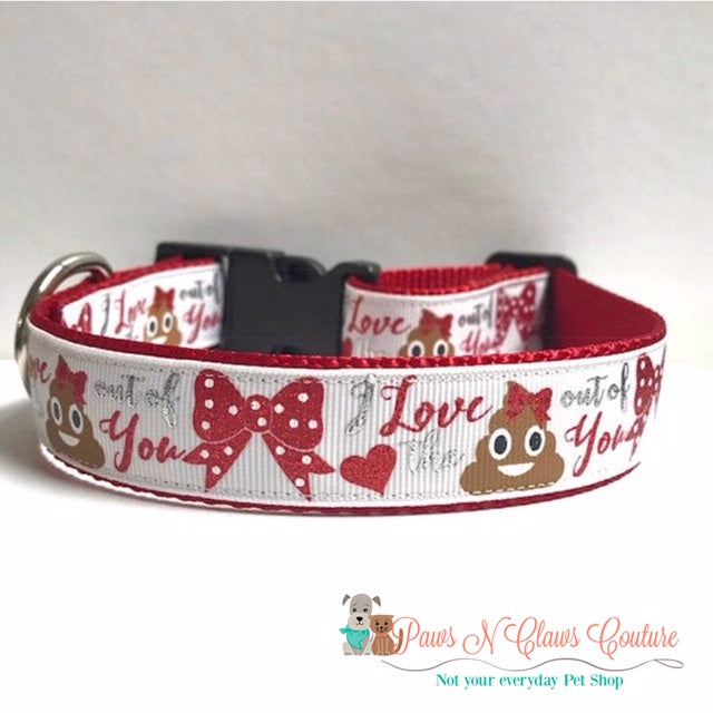 "1"" I love the Poo out of You Dog Collar - Paws N Claws Couture"