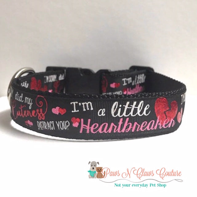 "1"" Im a Little Heartbreaker Dog Collar - Paws N Claws Couture"