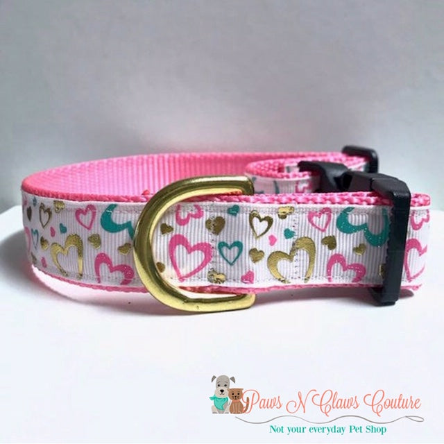 "1"" White Background Mini Foil Hearts Dog Collar - Paws N Claws Couture"