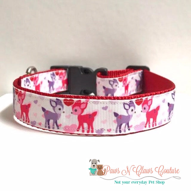 "1"" Deer in Love Dog Collar - Paws N Claws Couture"