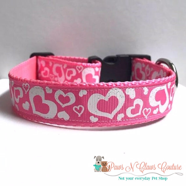 "1"" Glitter Hearts on Pink Dog Collar - Paws N Claws Couture"