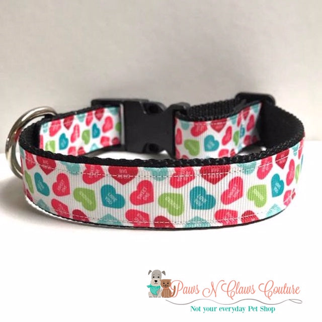 "1"" Candy Hearts Dog Collar - Paws N Claws Couture"