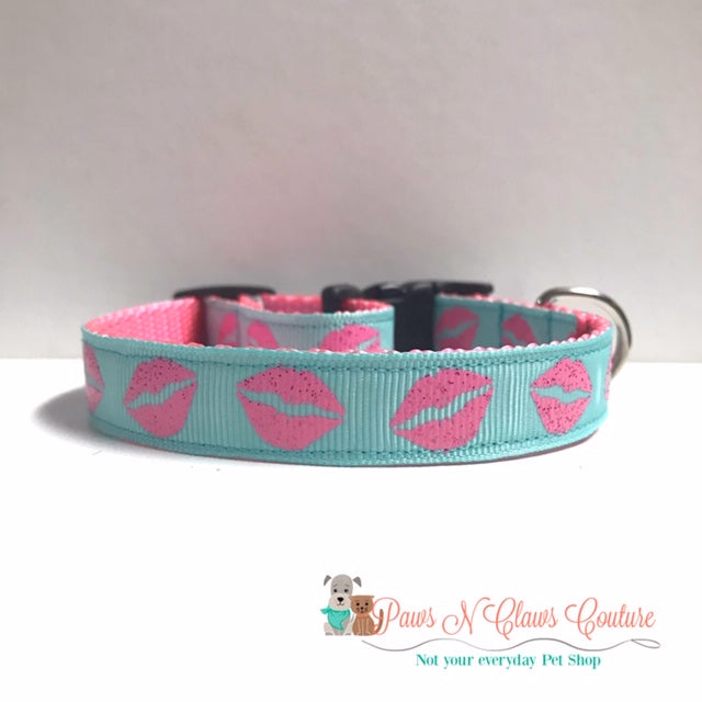 "5/8"" Kisses on Aqua Dog Collar - Paws N Claws Couture"