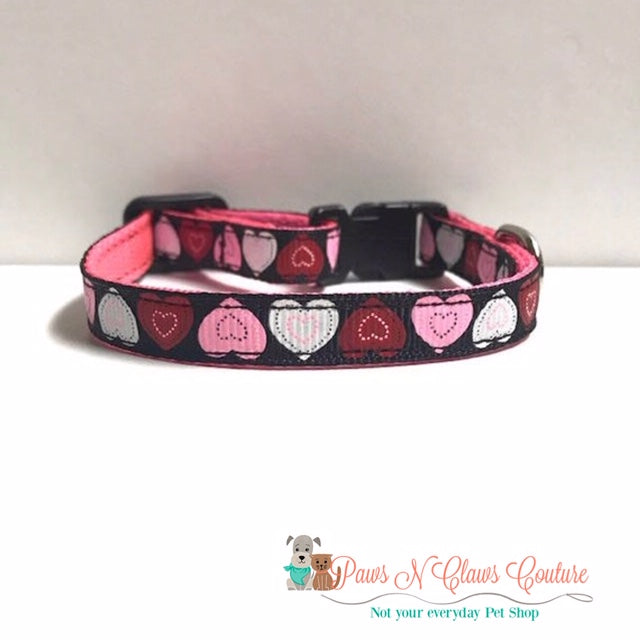 "3/8"" Pink, White & Red hearts Cat or Small Dog Collar"