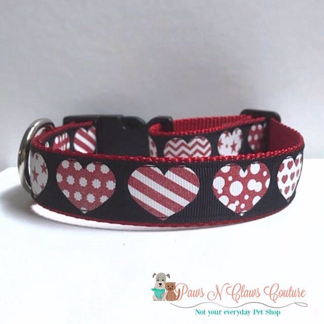 "1"" Patterned Hearts Dog Collar, Leash Available"