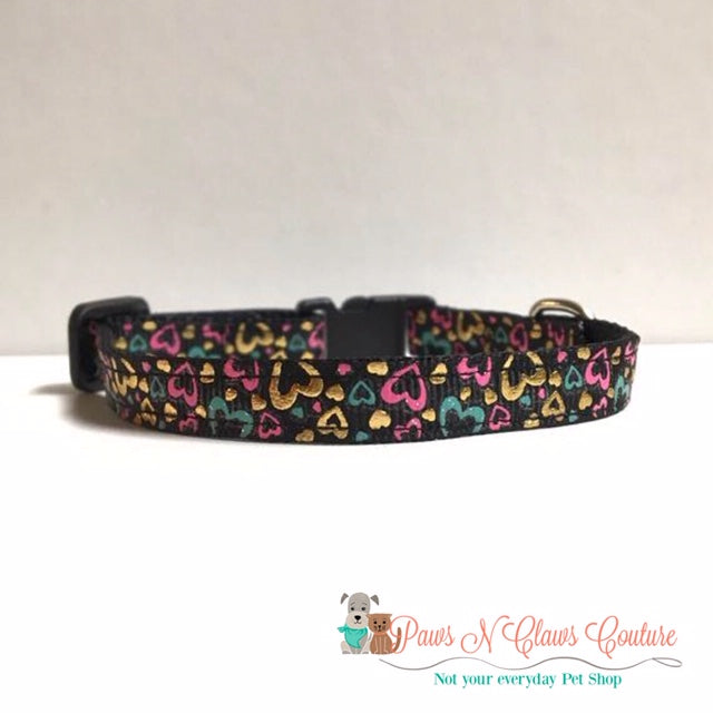 "3/8"" Foil Hearts on Black Cat or Small Dog Collar - Paws N Claws Couture"