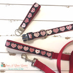 "1"" Patterned Hearts Dog Collar, Leash Available - Paws N Claws Couture"