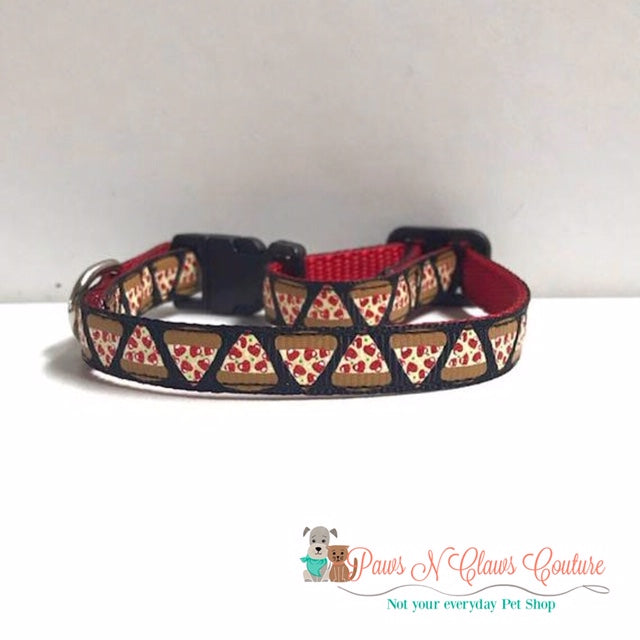 "3/8"" Heart Pepperoni Pizza Cat or Small Dog Collar"
