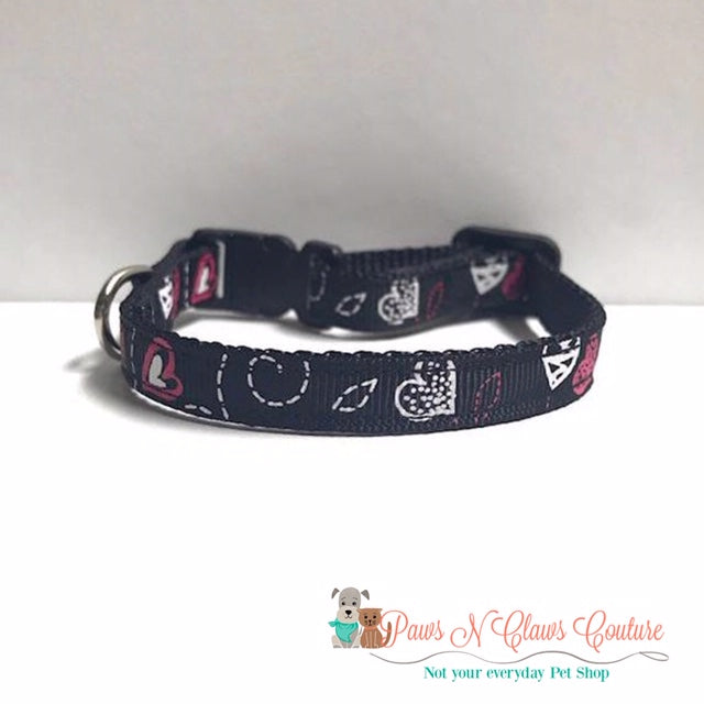 "3/8"" Dotted Lines and Hearts Cat or Small Dog Collar - Paws N Claws Couture"