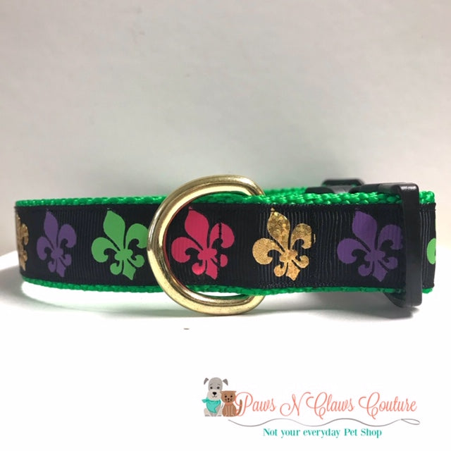 "1"" Mardi Gras Fleur Dog Collar - Paws N Claws Couture"