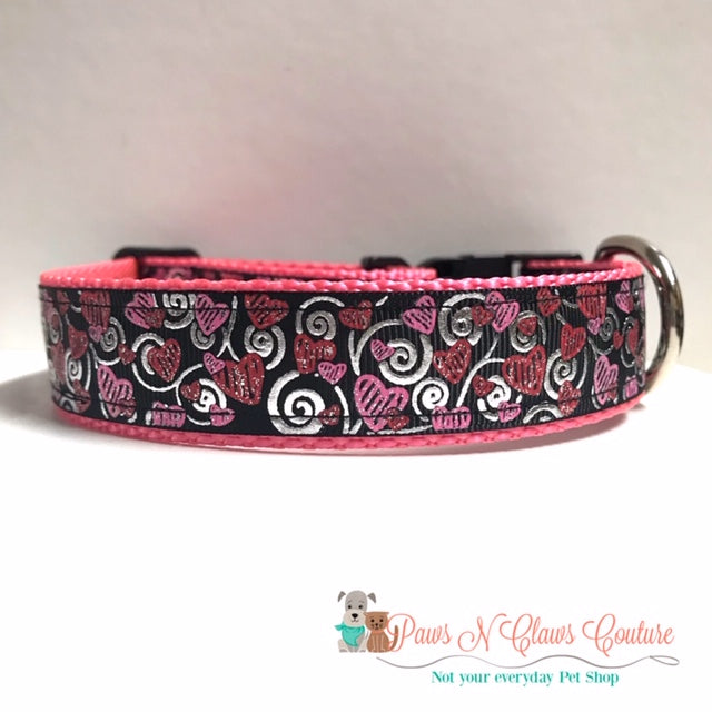 "1"" Scribble Pink & Red Hearts on Black Dog Collar - Paws N Claws Couture"