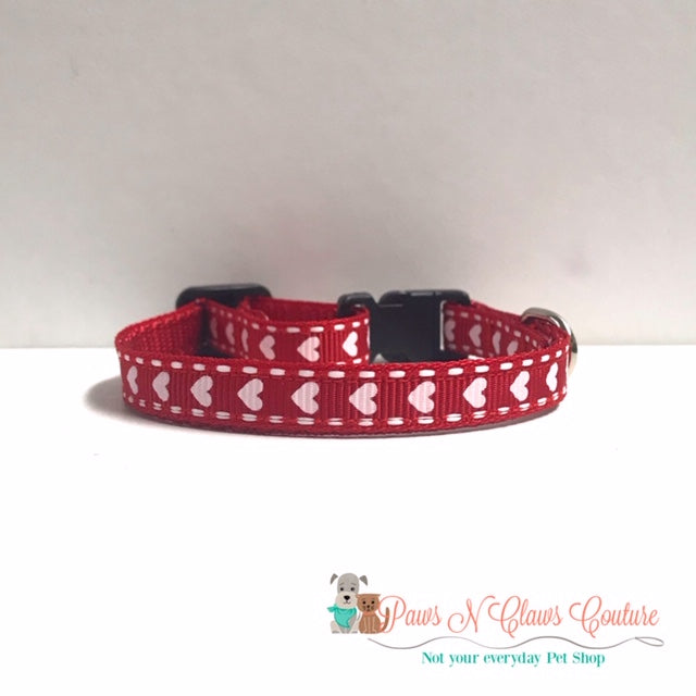 "3/8"" Hearts & Stitches Cat or Small Dog Collar"