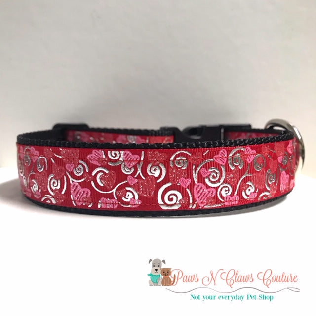 "1"" Scribble Hearts on Red Dog Collar, Leash Available"