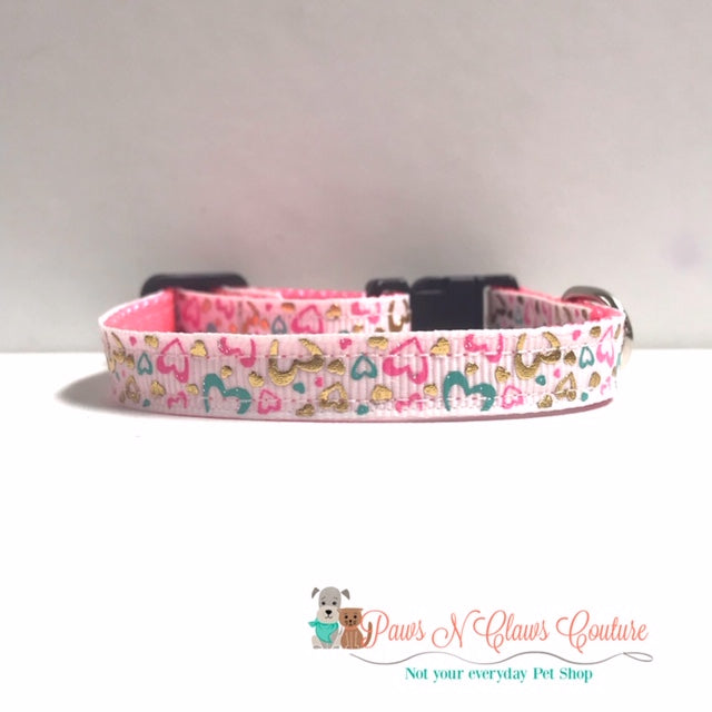 "3/8"" Foil Hearts on White Cat or Small Dog Collar"