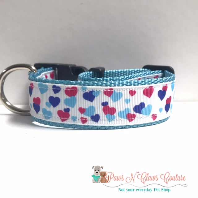 "1"" Pink & Blue Hearts Dog Collar - Paws N Claws Couture"