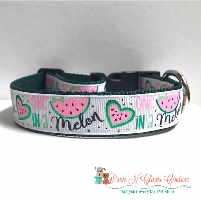 "1"" One in a Melon Dog Collar - Paws N Claws Couture"