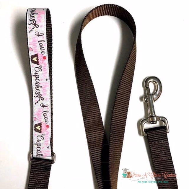 "1"" I love you more then Cupcakes Dog Collar, Leash Available - Paws N Claws Couture"