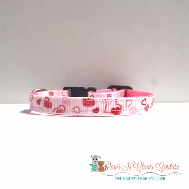 "3/8"" Pink Hearts on White Cat or Small Dog Collar"