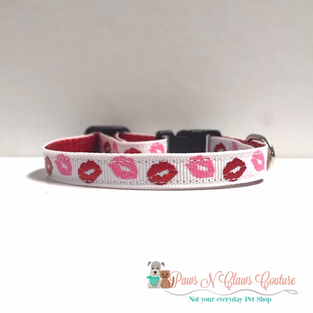 "3/8"" Red Foil Lips, Pink Glitter Lips Cat or Small Dog Collar"