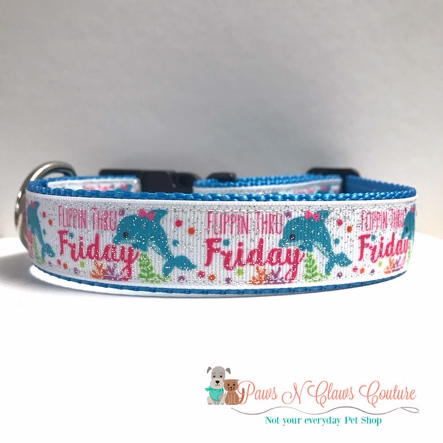 "1"" Flippin Thru Friday Dog Collar - Paws N Claws Couture"