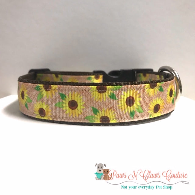 "1"" Sunflowers on Creme Dog Collar - Paws N Claws Couture"
